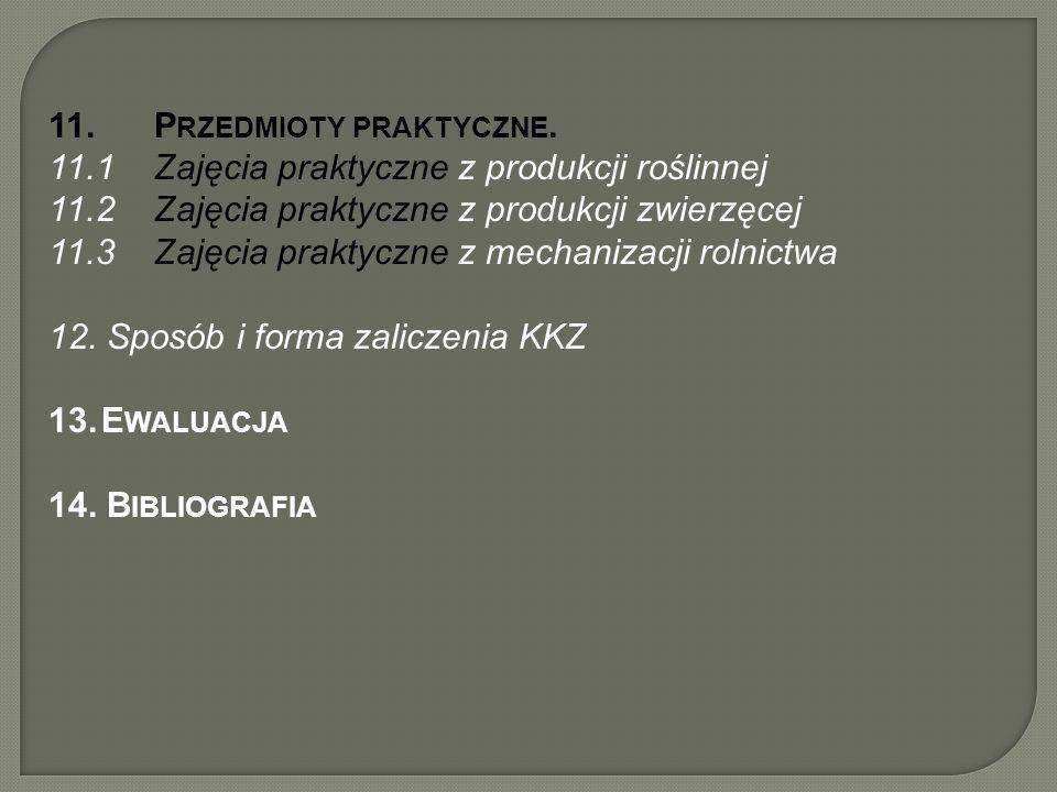 11.P RZEDMIOTY PRAKTYCZNE. 11.1Zajęcia praktyczne z produkcji roślinnej 11.2Zajęcia praktyczne z produkcji zwierzęcej 11.3Zajęcia praktyczne z mechani