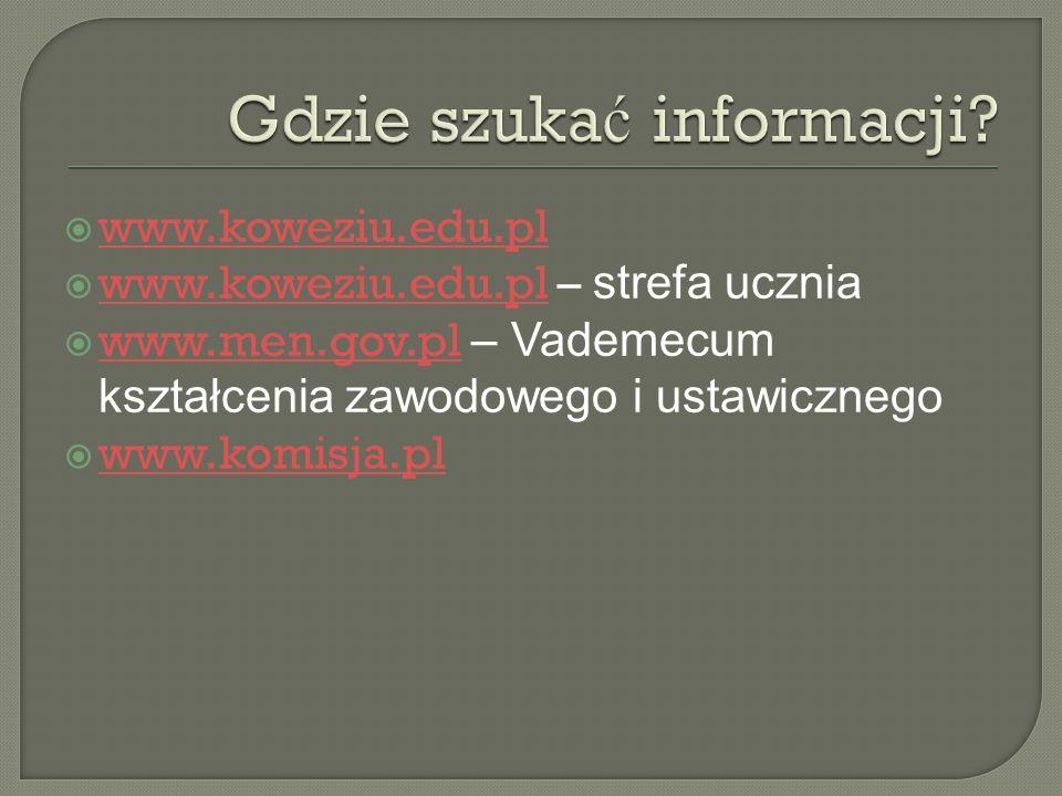 www.koweziu.edu.pl www.koweziu.edu.pl – strefa ucznia www.koweziu.edu.pl www.men.gov.pl – Vademecum kształcenia zawodowego i ustawicznego www.men.gov.