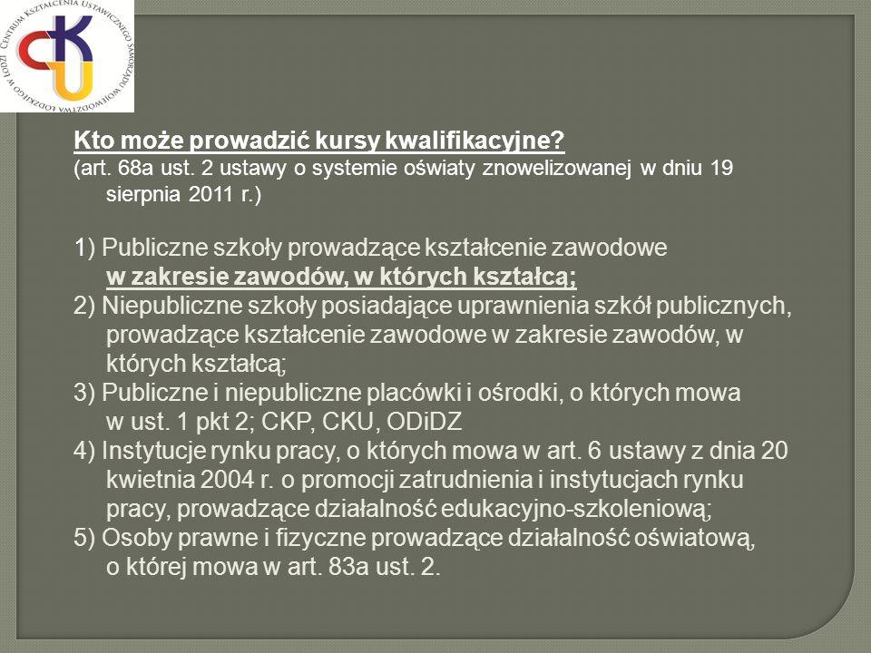 Kto może prowadzić kursy kwalifikacyjne? (art. 68a ust. 2 ustawy o systemie oświaty znowelizowanej w dniu 19 sierpnia 2011 r.) 1) Publiczne szkoły pro