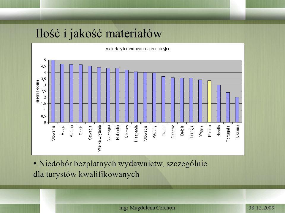 08.12.2009mgr Magdalena Czichon Ilość i jakość materiałów Niedobór bezpłatnych wydawnictw, szczególnie dla turystów kwalifikowanych