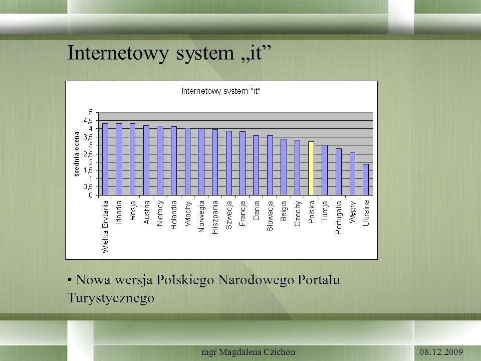 08.12.2009mgr Magdalena Czichon Internetowy system it Nowa wersja Polskiego Narodowego Portalu Turystycznego