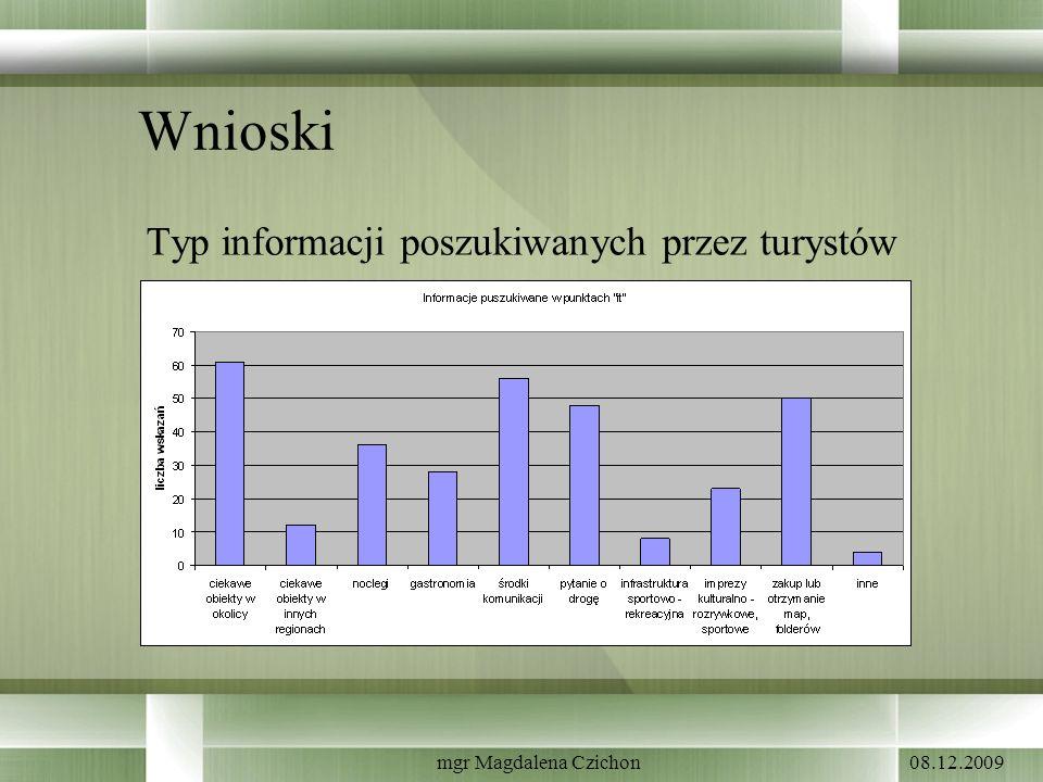 08.12.2009mgr Magdalena Czichon Wnioski Typ informacji poszukiwanych przez turystów