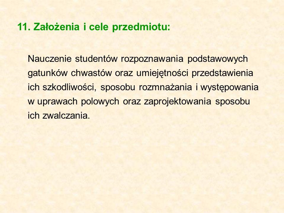 11. Założenia i cele przedmiotu: Nauczenie studentów rozpoznawania podstawowych gatunków chwastów oraz umiejętności przedstawienia ich szkodliwości, s