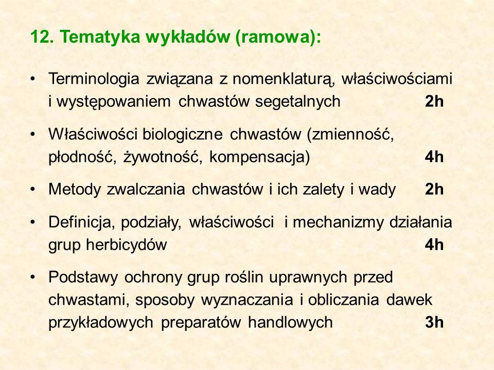 12. Tematyka wykładów (ramowa): Terminologia związana z nomenklaturą, właściwościami i występowaniem chwastów segetalnych2h Właściwości biologiczne ch