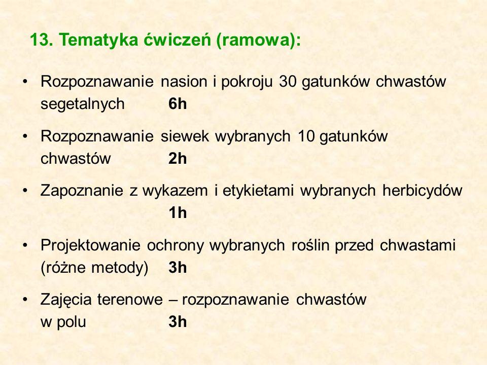13. Tematyka ćwiczeń (ramowa): Rozpoznawanie nasion i pokroju 30 gatunków chwastów segetalnych6h Rozpoznawanie siewek wybranych 10 gatunków chwastów2h