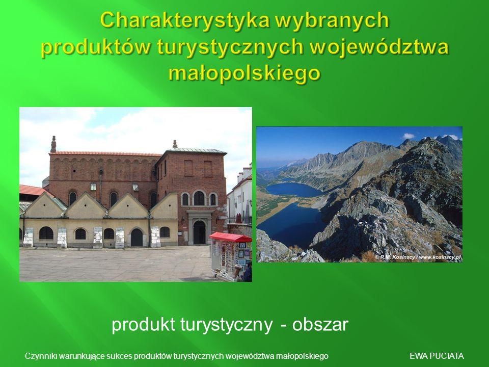 produkt turystyczny - obszar Czynniki warunkujące sukces produktów turystycznych województwa małopolskiego EWA PUCIATA
