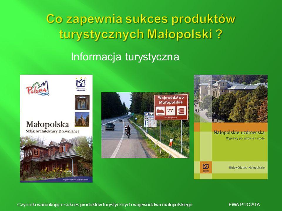Informacja turystyczna Czynniki warunkujące sukces produktów turystycznych województwa małopolskiego EWA PUCIATA