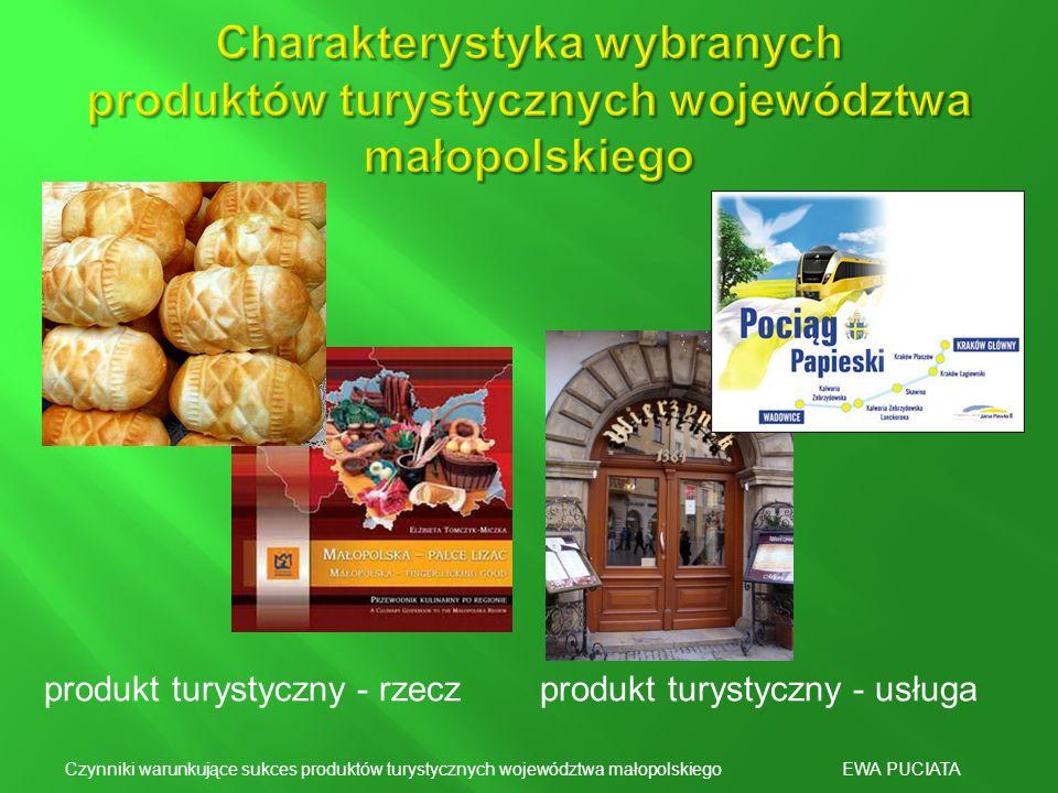 produkt turystyczny - rzeczprodukt turystyczny - usługa Czynniki warunkujące sukces produktów turystycznych województwa małopolskiego EWA PUCIATA