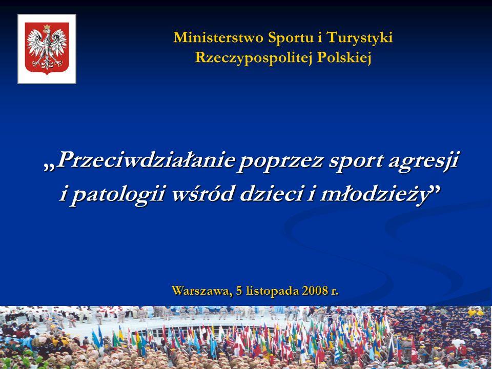 Ministerstwo Sportu i Turystyki Rzeczypospolitej Polskiej Warszawa, 5 listopada 2008 r. Przeciwdziałanie poprzez sport agresjiPrzeciwdziałanie poprzez