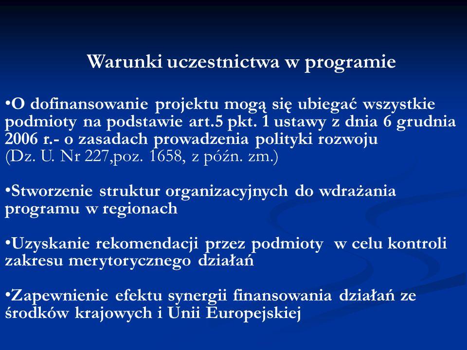 Warunki uczestnictwa w programie O dofinansowanie projektu mogą się ubiegać wszystkie podmioty na podstawie art.5 pkt. 1 ustawy z dnia 6 grudnia 2006