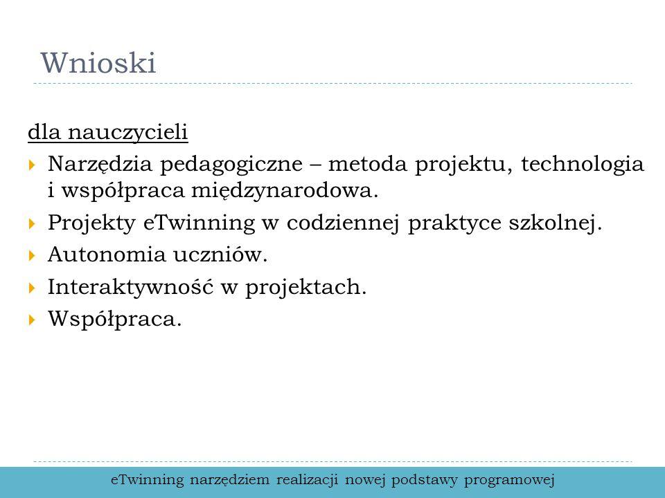 Wnioski dla nauczycieli Narzędzia pedagogiczne – metoda projektu, technologia i współpraca międzynarodowa.