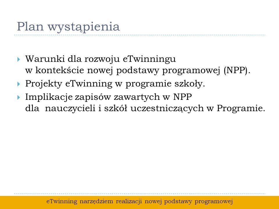 Plan wystąpienia Warunki dla rozwoju eTwinningu w kontekście nowej podstawy programowej (NPP).