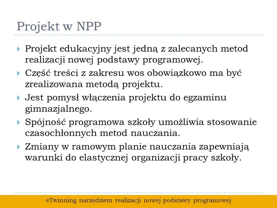 Projekt w NPP Projekt edukacyjny jest jedną z zalecanych metod realizacji nowej podstawy programowej.