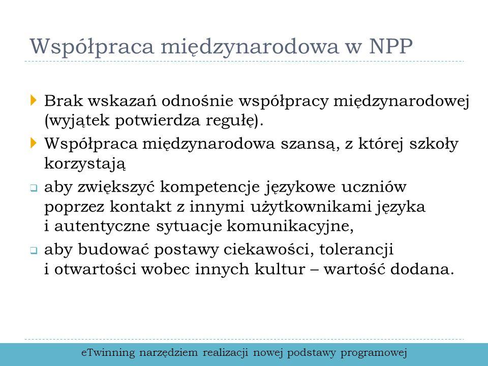 Współpraca międzynarodowa w NPP Brak wskazań odnośnie współpracy międzynarodowej (wyjątek potwierdza regułę).