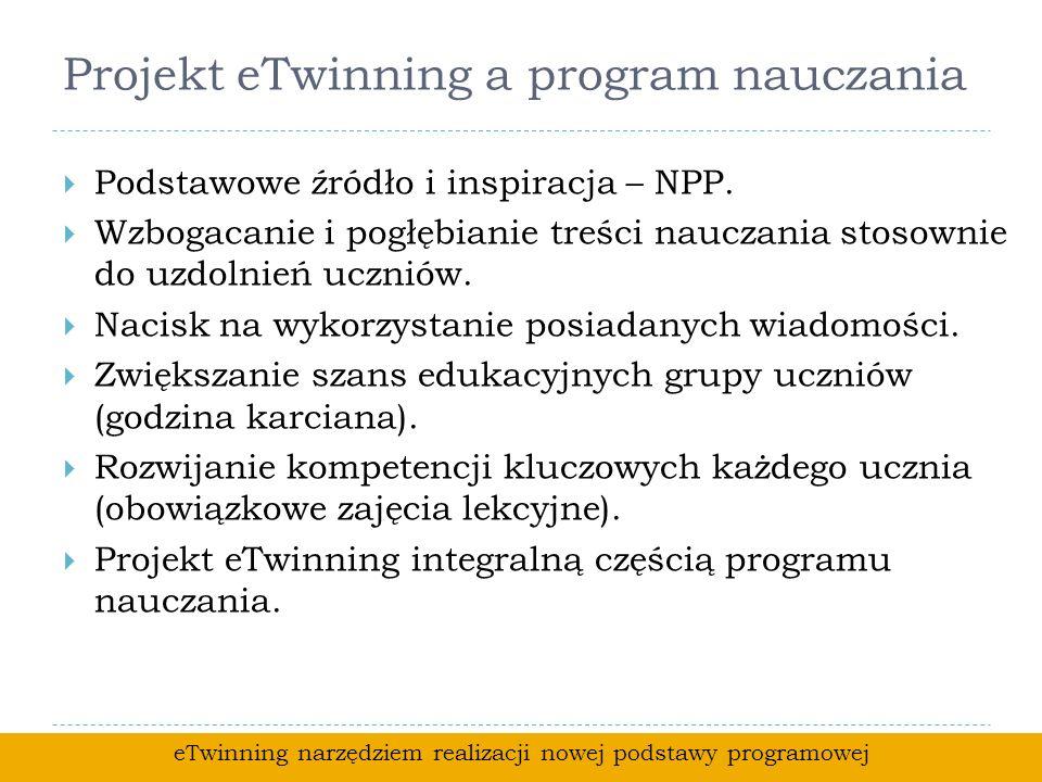 Projekt eTwinning a program nauczania Podstawowe źródło i inspiracja – NPP.
