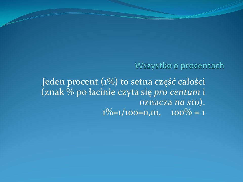 Jeden procent (1%) to setna część całości (znak % po łacinie czyta się pro centum i oznacza na sto).