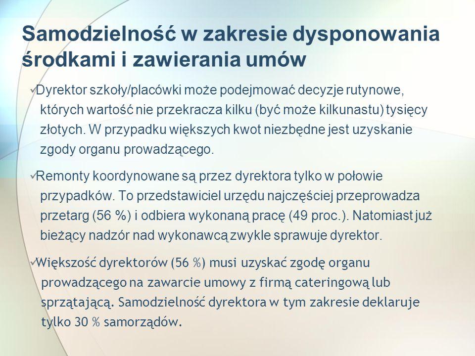 Samodzielność w zakresie dysponowania środkami i zawierania umów Dyrektor szkoły/placówki może podejmować decyzje rutynowe, których wartość nie przekracza kilku (być może kilkunastu) tysięcy złotych.