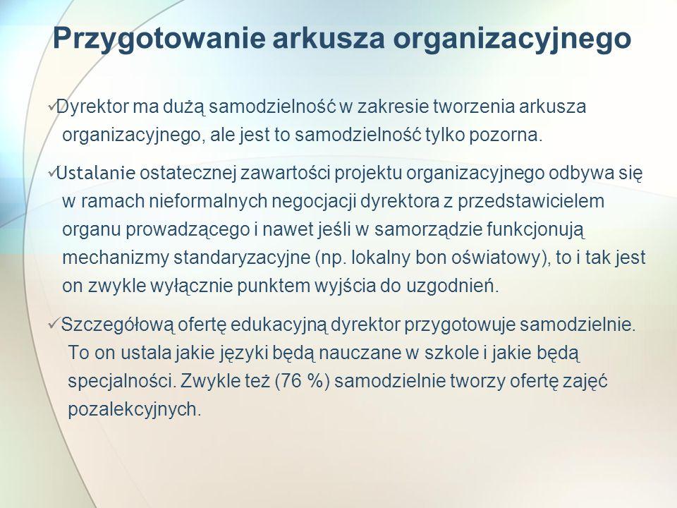 Przygotowanie arkusza organizacyjnego Dyrektor ma dużą samodzielność w zakresie tworzenia arkusza organizacyjnego, ale jest to samodzielność tylko pozorna.