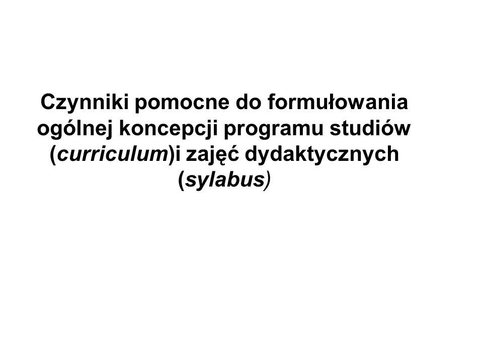 Czynniki pomocne do formułowania ogólnej koncepcji programu studiów (curriculum)i zajęć dydaktycznych (sylabus)