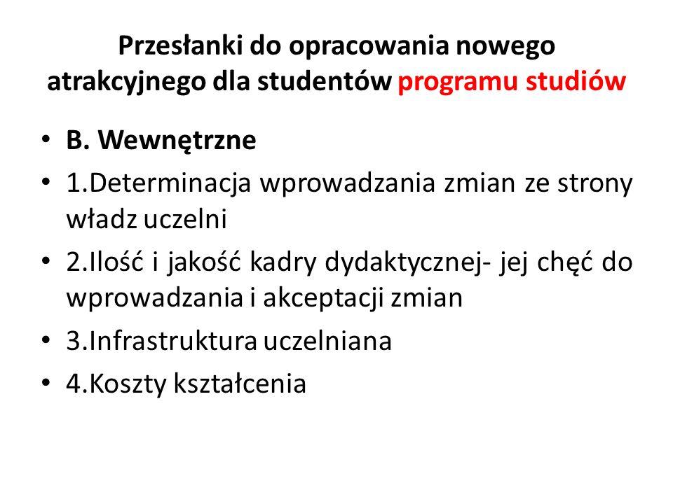 Przesłanki do opracowania nowego atrakcyjnego dla studentów programu studiów B. Wewnętrzne 1.Determinacja wprowadzania zmian ze strony władz uczelni 2