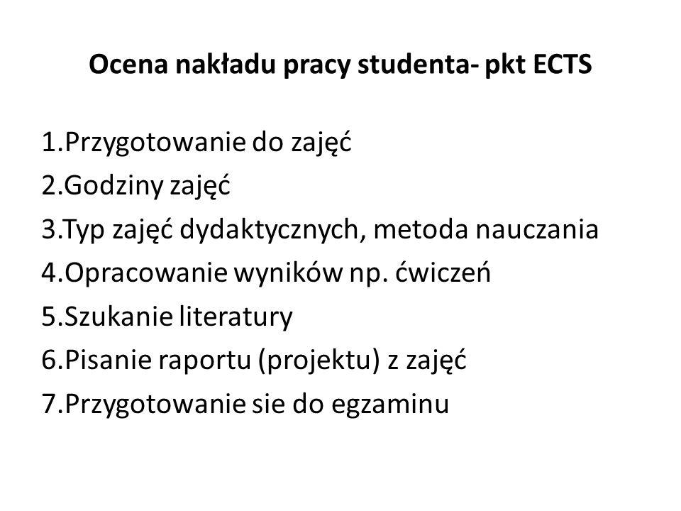 Ocena nakładu pracy studenta- pkt ECTS 1.Przygotowanie do zajęć 2.Godziny zajęć 3.Typ zajęć dydaktycznych, metoda nauczania 4.Opracowanie wyników np.