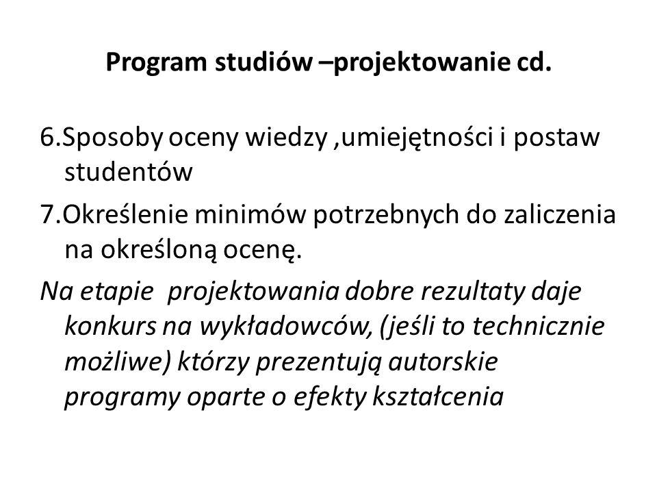 Program studiów –projektowanie cd. 6.Sposoby oceny wiedzy,umiejętności i postaw studentów 7.Określenie minimów potrzebnych do zaliczenia na określoną