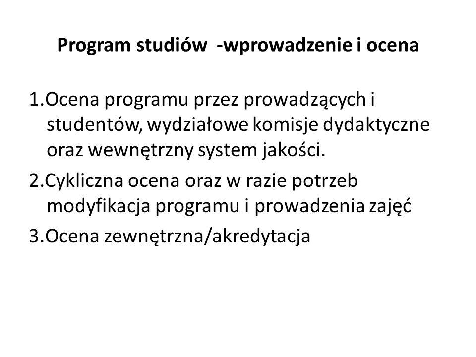Program studiów -wprowadzenie i ocena 1.Ocena programu przez prowadzących i studentów, wydziałowe komisje dydaktyczne oraz wewnętrzny system jakości.