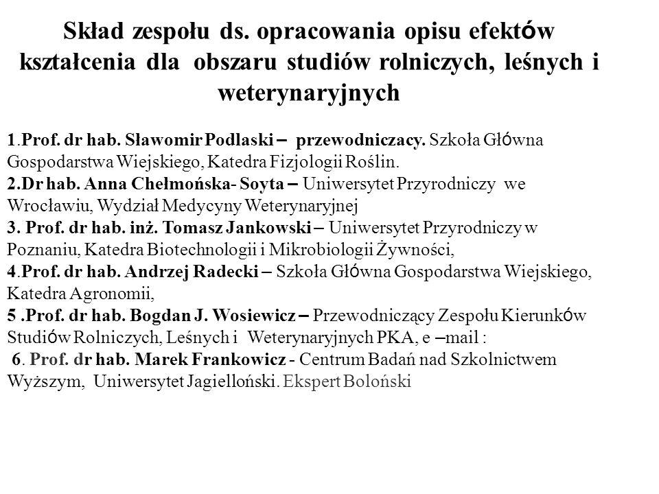 Skład zespołu ds. opracowania opisu efekt ó w kształcenia dla obszaru studiów rolniczych, leśnych i weterynaryjnych 1.Prof. dr hab. Sławomir Podlaski