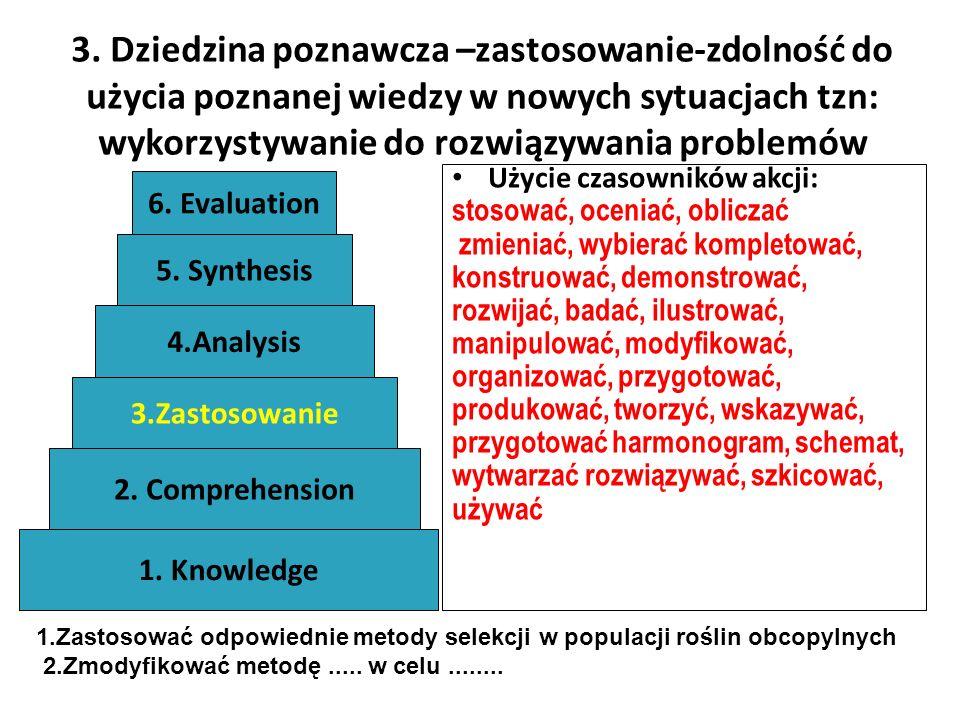 3. Dziedzina poznawcza –zastosowanie-zdolność do użycia poznanej wiedzy w nowych sytuacjach tzn: wykorzystywanie do rozwiązywania problemów Użycie cza