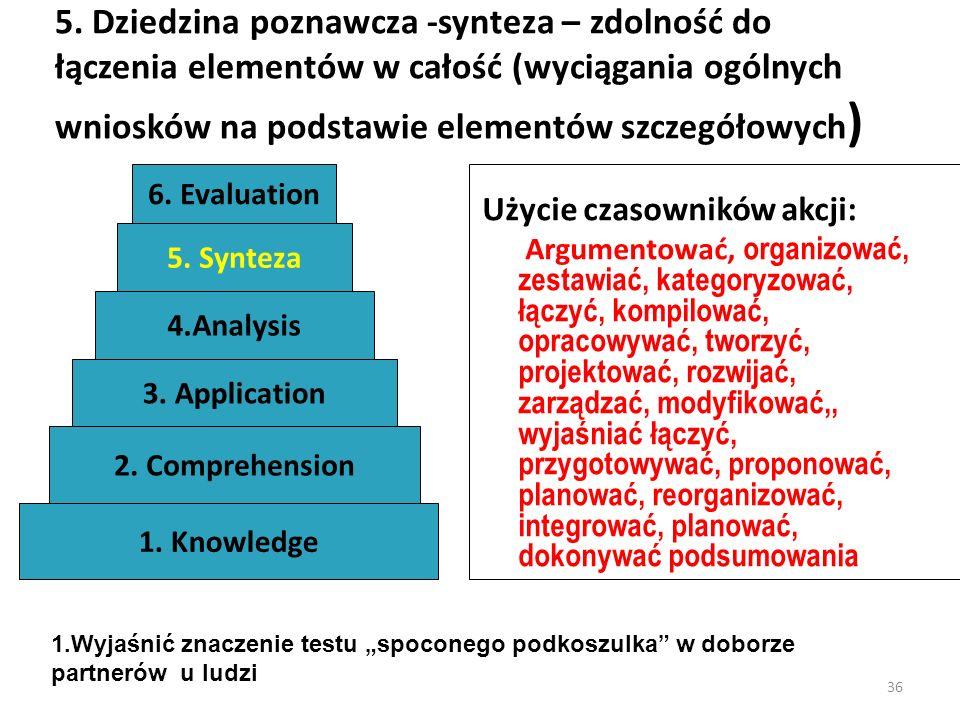 36 5. Dziedzina poznawcza -synteza – zdolność do łączenia elementów w całość (wyciągania ogólnych wniosków na podstawie elementów szczegółowych ) Użyc