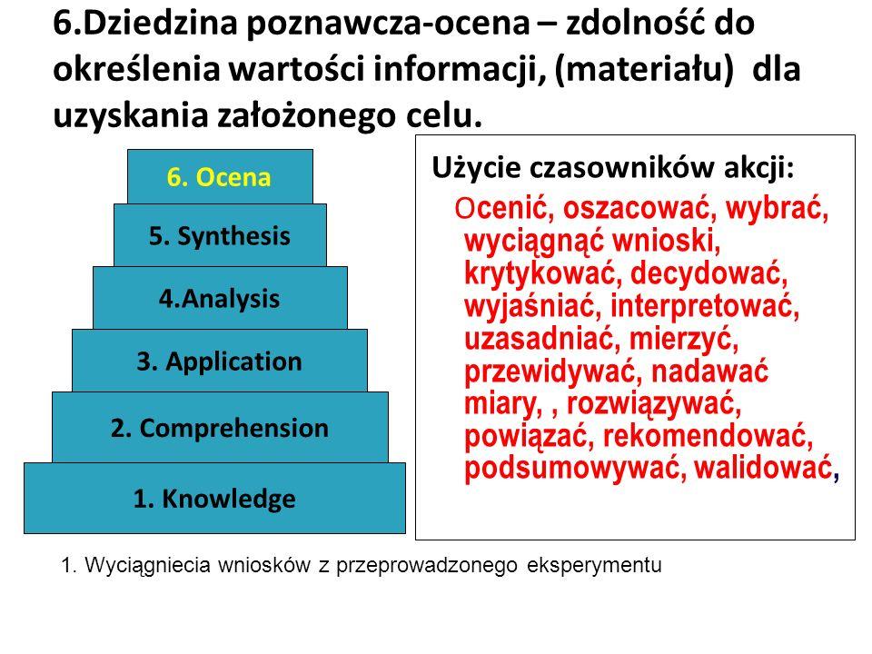 6.Dziedzina poznawcza-ocena – zdolność do określenia wartości informacji, (materiału) dla uzyskania założonego celu. Użycie czasowników akcji: O cenić