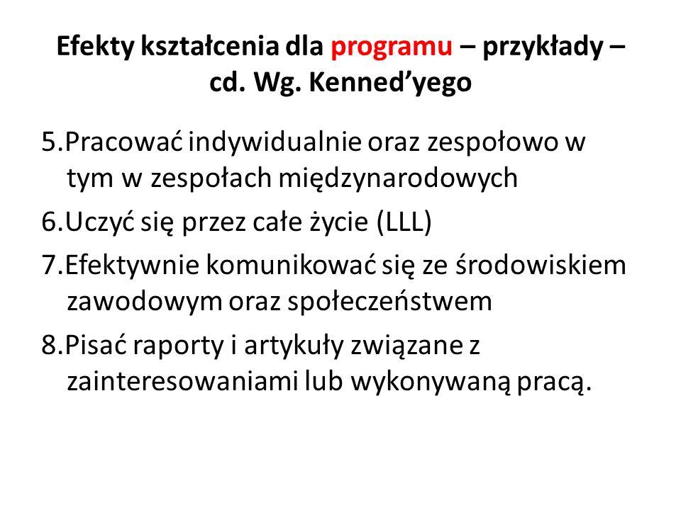Efekty kształcenia dla programu – przykłady – cd. Wg. Kennedyego 5.Pracować indywidualnie oraz zespołowo w tym w zespołach międzynarodowych 6.Uczyć si