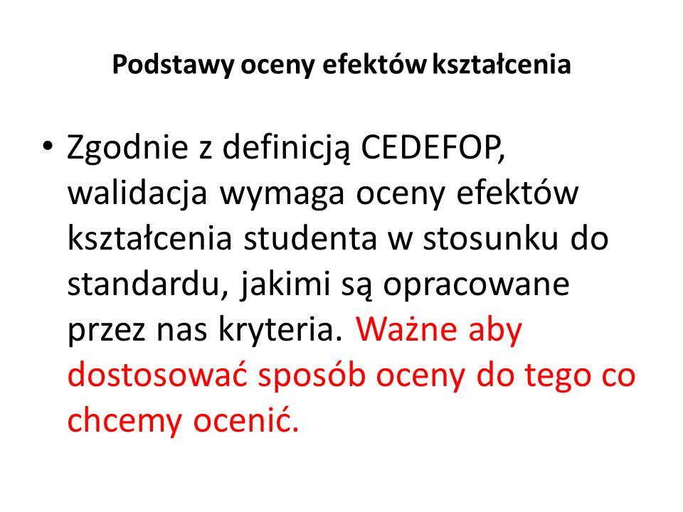 Podstawy oceny efektów kształcenia Zgodnie z definicją CEDEFOP, walidacja wymaga oceny efektów kształcenia studenta w stosunku do standardu, jakimi są