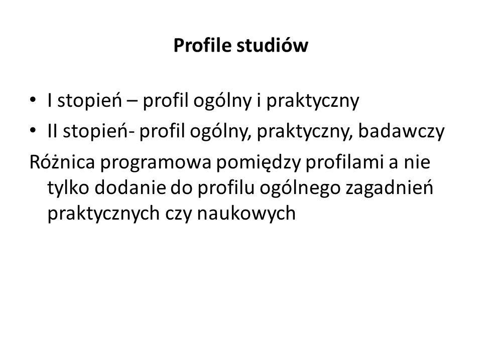 Profile studiów I stopień – profil ogólny i praktyczny II stopień- profil ogólny, praktyczny, badawczy Różnica programowa pomiędzy profilami a nie tyl