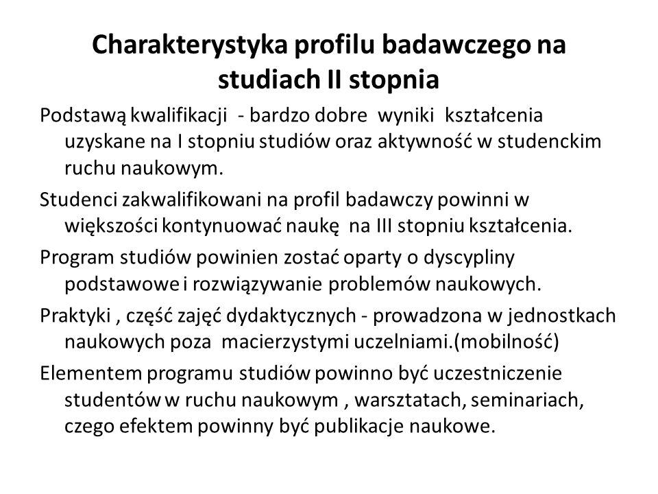 Charakterystyka profilu badawczego na studiach II stopnia Podstawą kwalifikacji - bardzo dobre wyniki kształcenia uzyskane na I stopniu studiów oraz a