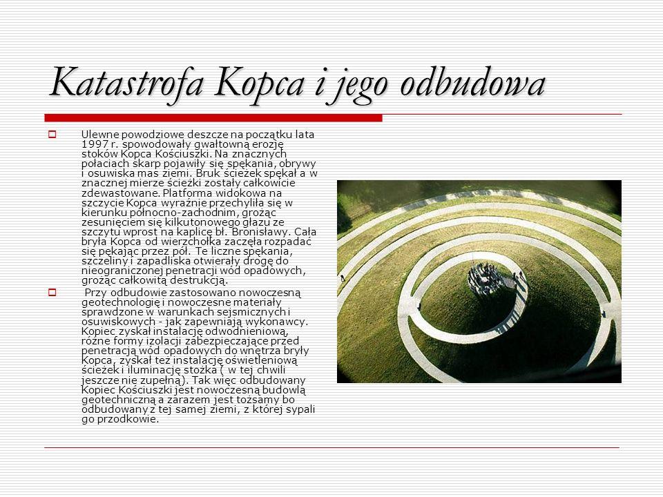 Katastrofa Kopca i jego odbudowa Ulewne powodziowe deszcze na początku lata 1997 r. spowodowały gwałtowną erozję stoków Kopca Kościuszki. Na znacznych