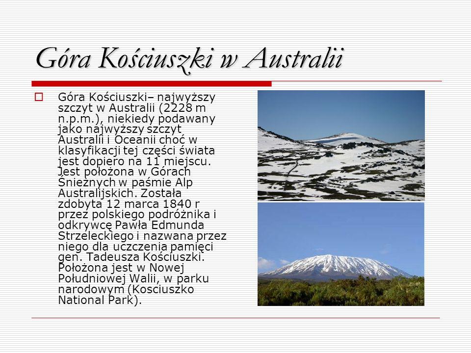 Góra Kościuszki w Australii Góra Kościuszki– najwyższy szczyt w Australii (2228 m n.p.m.), niekiedy podawany jako najwyższy szczyt Australii i Oceanii