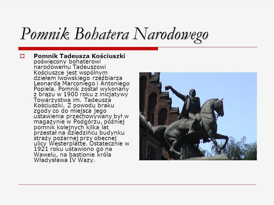 Pomnik Bohatera Narodowego Pomnik Tadeusza Kościuszki poświęcony bohaterowi narodowemu Tadeuszowi Kościuszce jest wspólnym dziełem lwowskiego rzeźbiar