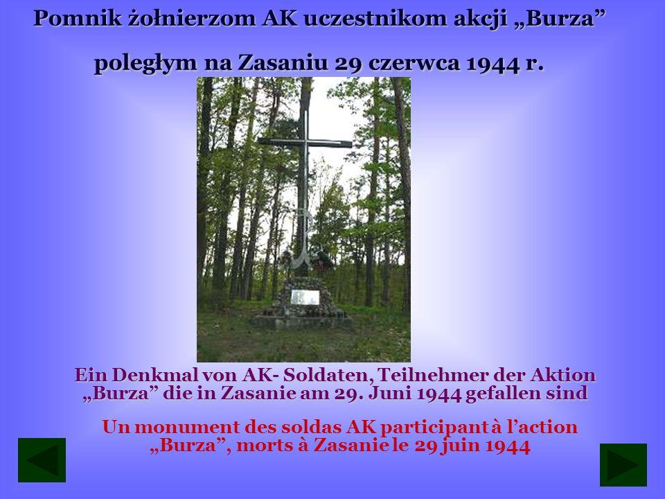 Pomnik upamiętniający zamach partyzantów Ojca Jana na Qislingaw w dniu 1 sierpnia 1943 roku Ein Denkmal von Attentat der Partisanen des Vaters Johann