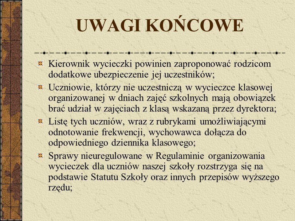 UWAGI KOŃCOWE Kierownik wycieczki powinien zaproponować rodzicom dodatkowe ubezpieczenie jej uczestników; Uczniowie, którzy nie uczestniczą w wycieczc