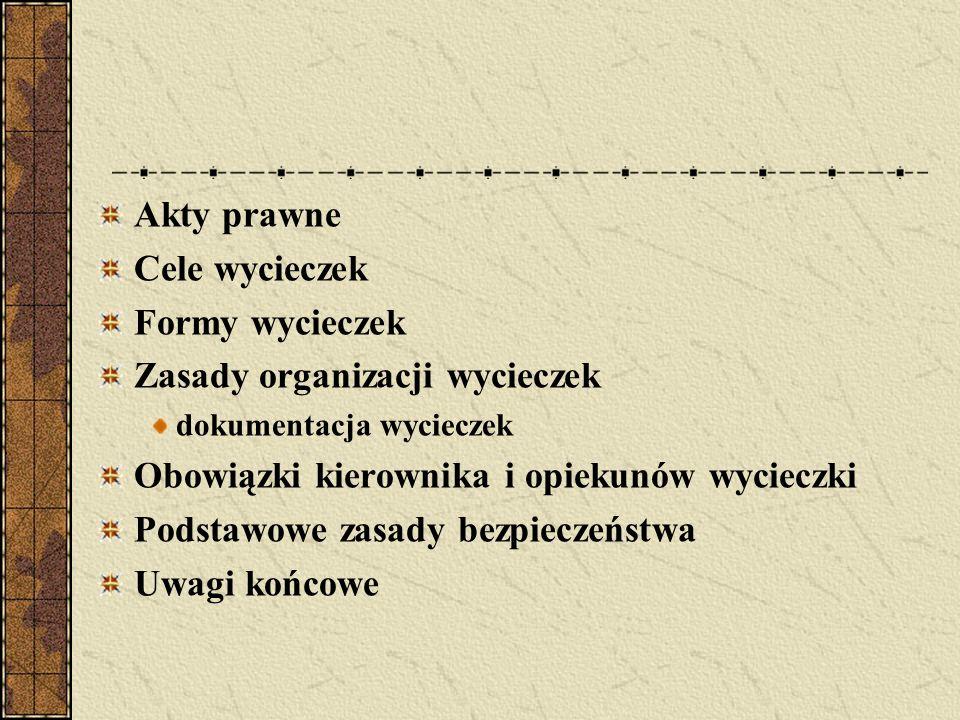 Akty prawne Cele wycieczek Formy wycieczek Zasady organizacji wycieczek dokumentacja wycieczek Obowiązki kierownika i opiekunów wycieczki Podstawowe z