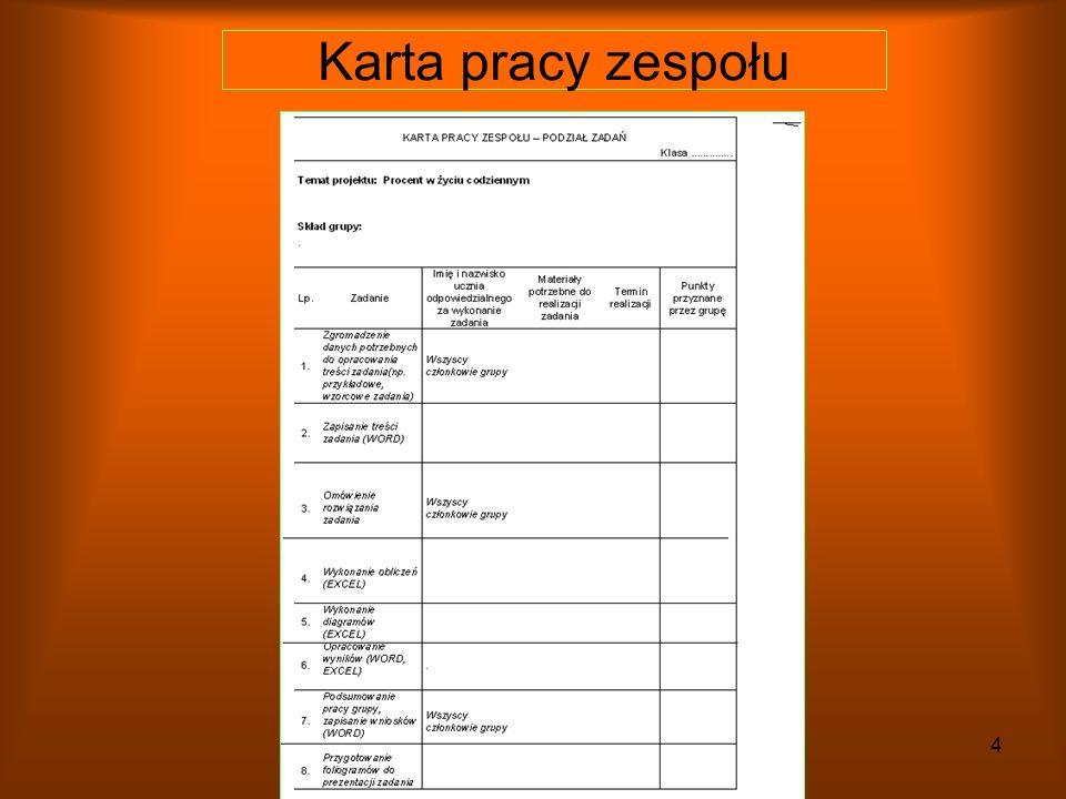 3 Podanie tematu projektu Podanie kryteriów oceny Podanie terminu realizacji Podział na grupy i wybór lidera Rozdanie kart pracy zespołu i ich wypełnienie Lekcja wprowadzająca lekcja pierwsza