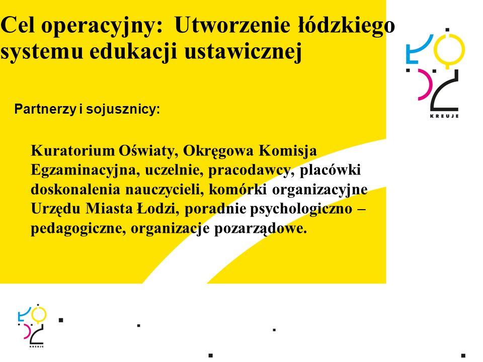 Cel operacyjny: Utworzenie łódzkiego systemu edukacji ustawicznej Partnerzy i sojusznicy: Kuratorium Oświaty, Okręgowa Komisja Egzaminacyjna, uczelnie