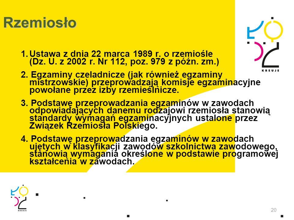 Rzemiosło 1.Ustawa z dnia 22 marca 1989 r. o rzemiośle (Dz. U. z 2002 r. Nr 112, poz. 979 z późn. zm.) 2. Egzaminy czeladnicze (jak również egzaminy m