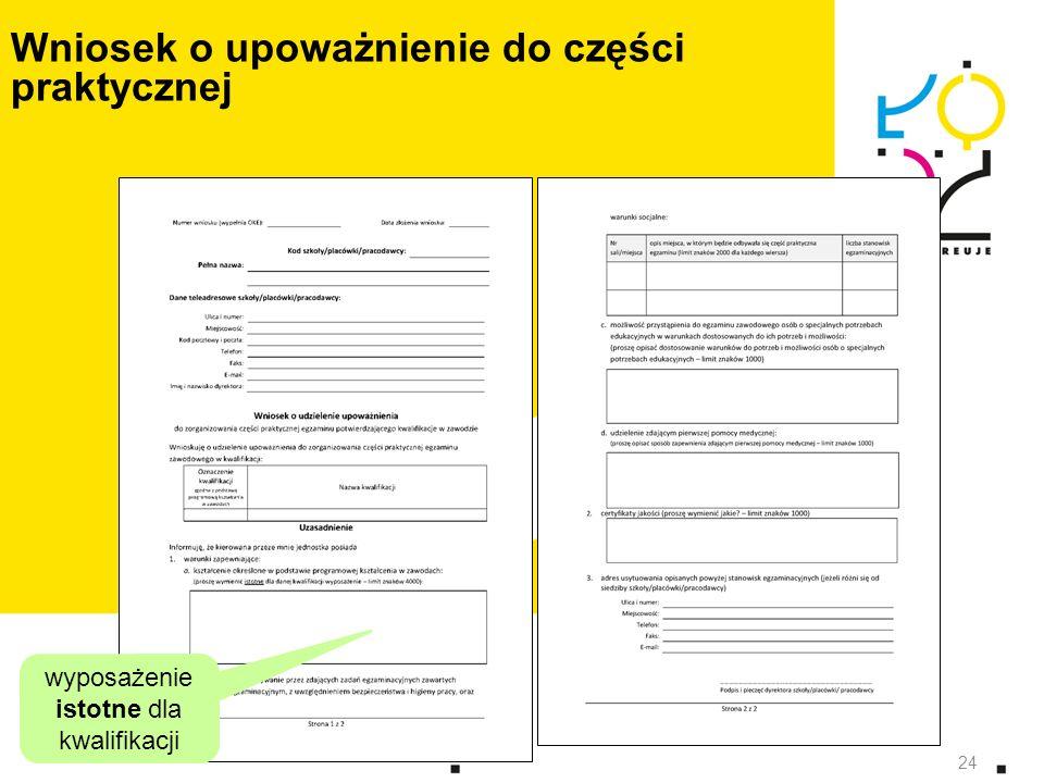 24 Wniosek o upoważnienie do części praktycznej wyposażenie istotne dla kwalifikacji 24