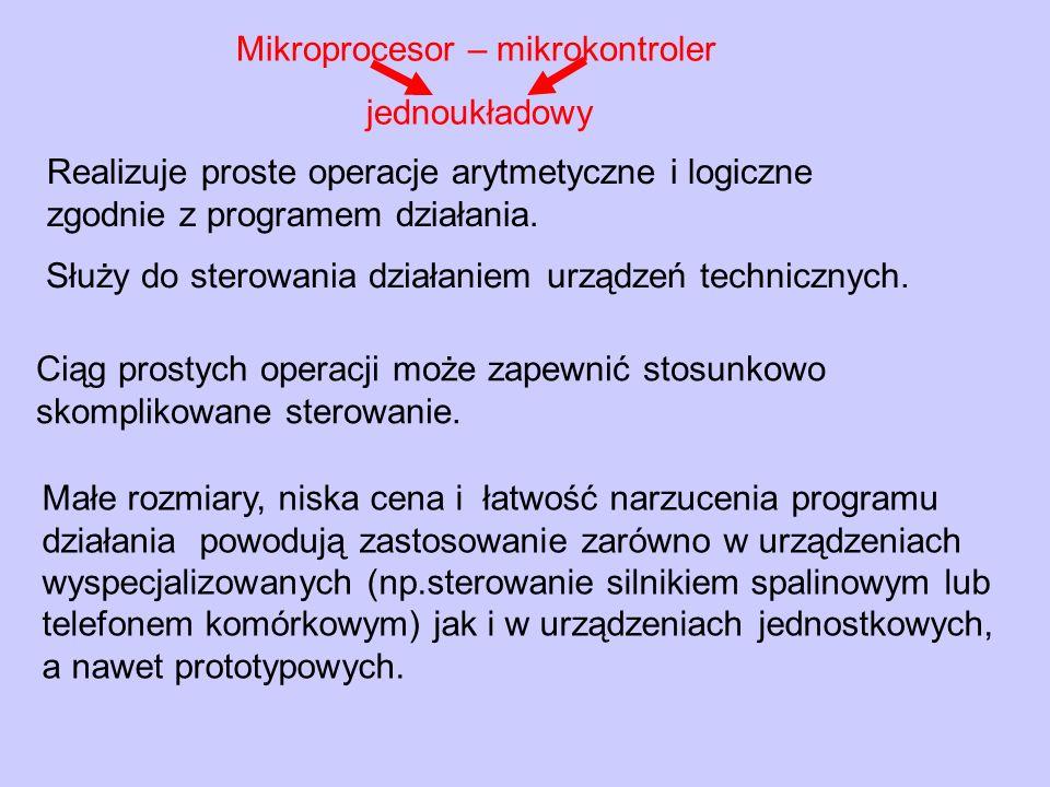 CPURAMROMWe/Wy Magistrala adresowa Magistrala danych We Wy Magistrala sterująca ALU – jednostka arytmetyczno-logiczna DBF, ABF -bufory danych i adresów Acc – akumulator CU – jednostka sterująca Rejestry (stos, licznik rozkazów...) Mikroprocesor-mikrokontroler