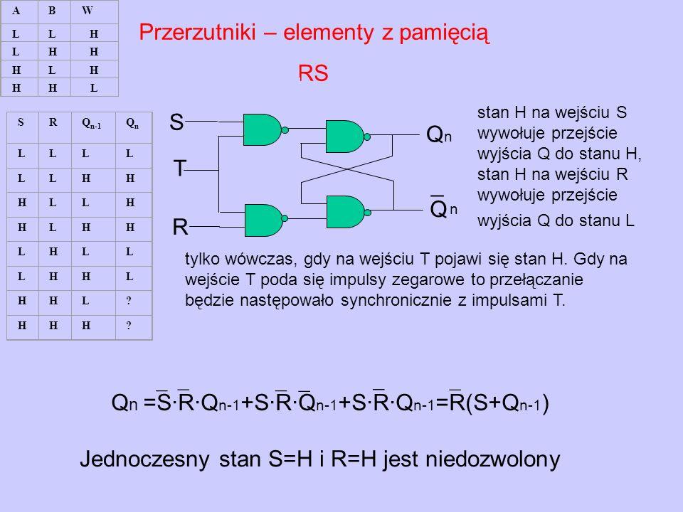 Przerzutniki – elementy z pamięcią RS stan H na wejściu S wywołuje przejście wyjścia Q do stanu H, stan H na wejściu R wywołuje przejście wyjścia Q do