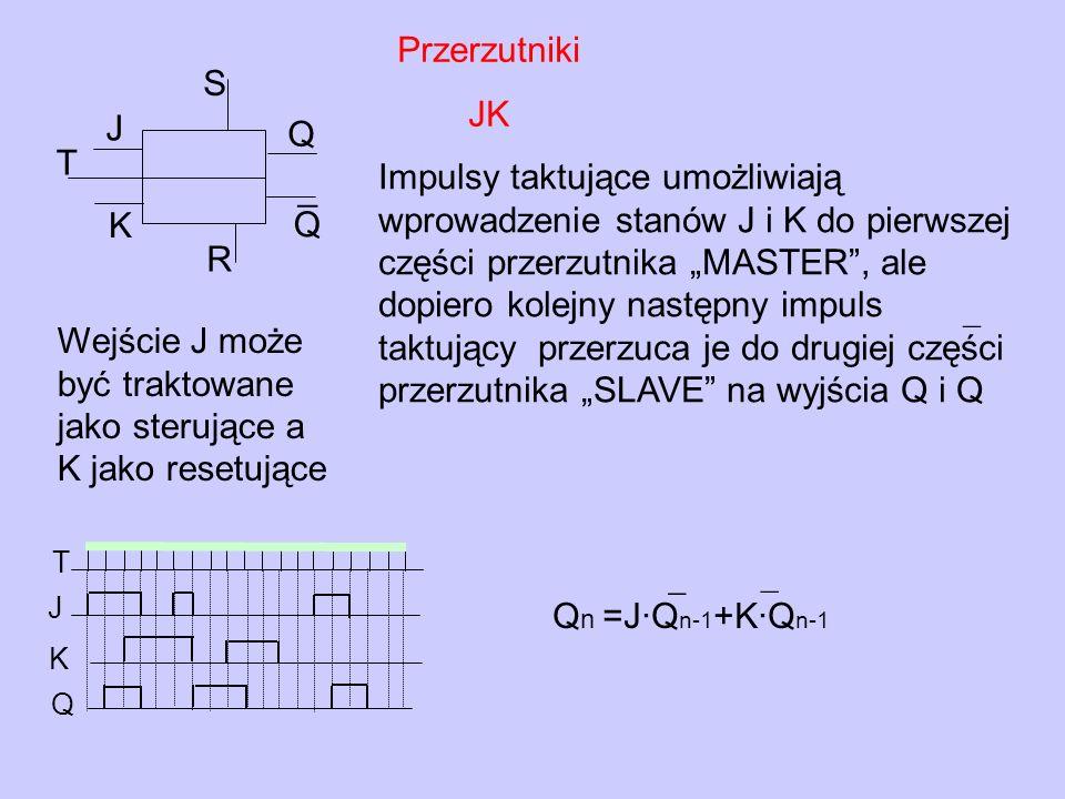 Przerzutniki JK T J K Q Q ¯ R S Q n =J·Q n-1 +K·Q n-1 ¯ ¯ Impulsy taktujące umożliwiają wprowadzenie stanów J i K do pierwszej części przerzutnika MAS