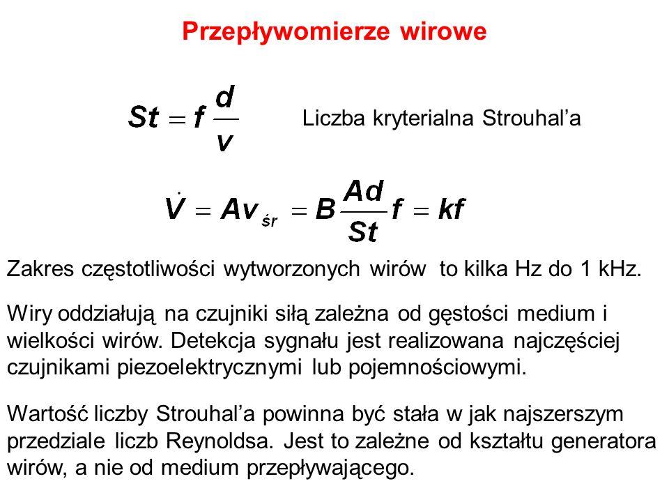 Przepływomierze wirowe Liczba kryterialna Strouhala Zakres częstotliwości wytworzonych wirów to kilka Hz do 1 kHz. Wartość liczby Strouhala powinna by