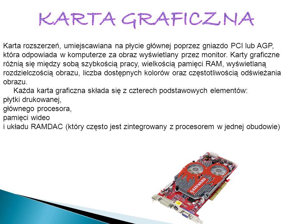 Karta rozszerzeń, umiejscawiana na płycie głównej poprzez gniazdo PCI lub AGP, która odpowiada w komputerze za obraz wyświetlany przez monitor. Karty